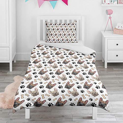 French Bulldog Cute Bone Paw Print Toddler Bedding Set Kids Cartoon Printed Quilt Kids for All Season
