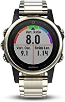 Garmin fēnix 5S, Premium and Rugged Smaller-Sized Multisport GPS Smartwatch, Sapphire Glass, Light Gold W/ Metal Band