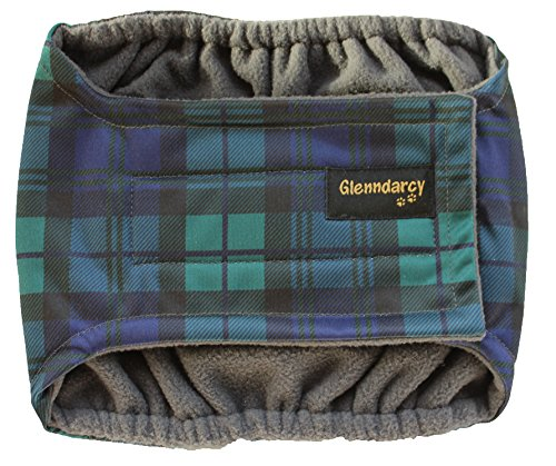 Glenndarcy Männliche Hundewindeln Gürtel - Urininkontinenz - Black Watch Medium Band & 2 Washable Pads