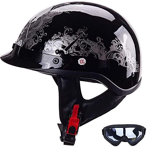 Cascos de Motocicleta Casco de Motocicleta Brain-Cap con Visera Solar incorporada para Hombres Gorra de Motocicleta Retro para ciclomotor, ciclomotor, Scooter Cruiser, aprobación Dot/ECE