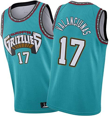 ZMIN Baloncesto de los Hombres NBA Jerseys Valanciunas # 17 Grizzlies, Chaleco sin Mangas con Bordado Bordado clásico Ropa Superior,B,XL 180~185cm
