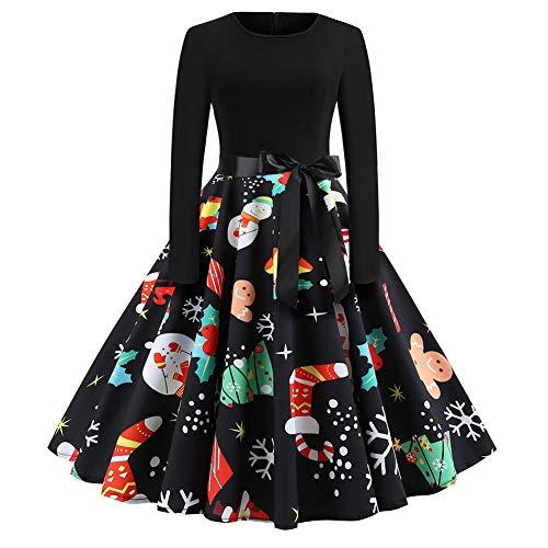 Averyshowya weihnachtskleider fur damenWeihnachtskleidNeue Frauen Weihnachten Kleid Krawatte Gürtel schlanke Taille Druck Stück Langarm Flare Kleid Weihnachtsfeier Kleid @ H_M