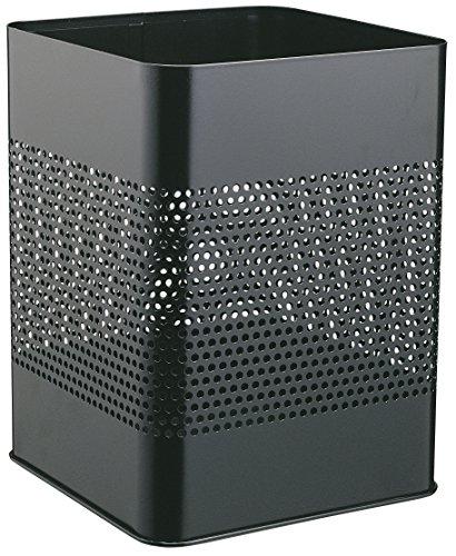Durable 332101 Papierkorb Metall eckig 18,5 Liter, Perforation 165 mm, schwarz