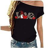 YANFANG Camiseta para Mujer Unisex Traje de Pareja de Manga Corta con Estampado de corazón de San Valentín Negro Gris Blanco