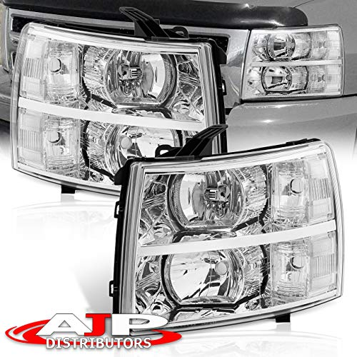 AJP Distributors For Chevy Chevrolet Silverado 1500 2500 3500 HD Headlights Lights Lamps 2007 2008 2009 2010 2011 2012 2013 2014 07 08 09 10 11 12 13 14 (Chrome Housing Clear Lens Clear Reflector)