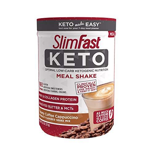 SlimFast Keto Meal Replacement Shake Powder, Creamy Coffee Cappuccino, 13.3 Oz