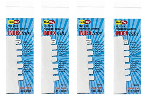 Price comparison product image Redi-Tag Write-On Index Tabs,  Permanent Adhesive,  7 / 16 x 1 Inches,  Bulk Packed,  416 tabs Per Pack,  Sold as 4 Pack,  White (31010)
