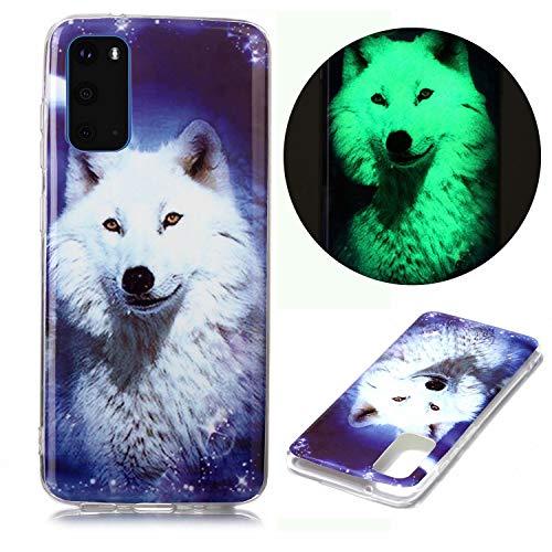 Miagon Leuchtend Luminous Hülle für Samsung Galaxy S20 Plus,Fluoreszierend Licht im Dunkeln Handyhülle Silikon Case Handytasche Stoßfest Schutzhülle,Weiß Wolf