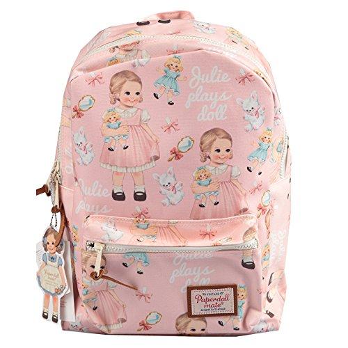 [韓国Afrocat] Korea Afrocat Afrocatペーパードールメイトの若者の女性のバックパックバッグ (Afrocat Paper Doll Mate Youth Women's Backpack Bag) (ピンク(Julie) [並行輸入品]