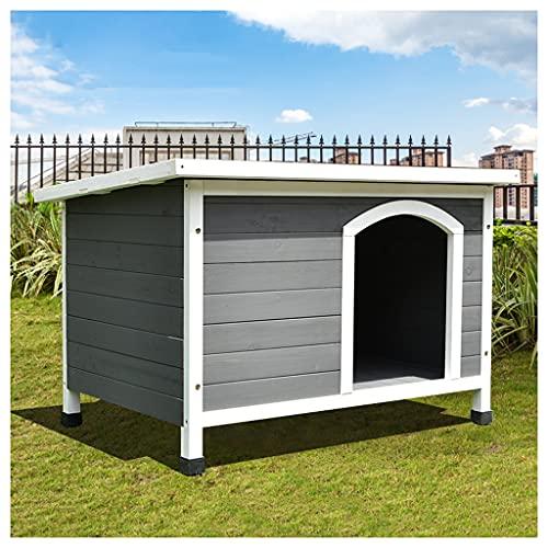 TYX Casa Perros Madera Impermeable, Casetas Perros Perreras Perros Refugio Perros Casa Mascotas, para Perros Pequeños Medianos Cabaña Troncos Mascotas,93×61×67.5cm