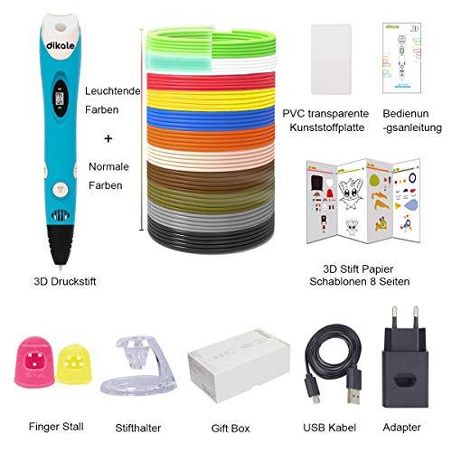 3D Stifte Set für Kinder mit PLA Filament 12 Farben -【Neueste Version 2018】3D Stifte mit PLA Farben 120 Fuß und 250 Schablonen eBook, Dikale 07A 3D Pen als kreatives Geschenk für Erwachsene, Bastler zu kritzeleien, basteln, malen und 3D drücken - 2
