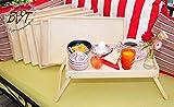 Brotzeit- und Picknickbretter 7 STK. massives und hochwertiges, klappbares Holztablett, Buche - SPÜLFEST '*' - Beistelltisch, Natur, Knietisch mit Zwei Tragegriffen, Maße viereckig, 35 cm...