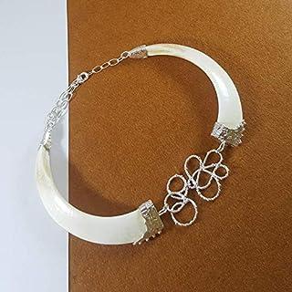Collar con navajas naturales de jabalí montado en plata de ley 925