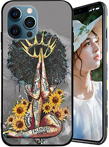 Compatible with iPhone 13 Pro Max Case,Black Queen with Sunflower Pattern for Women Girls Boys Case,Soft TPU Shockproof Full Body Protection Case Designed for iPhone 13 Pro Max 6.7 Inch