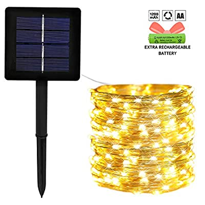 OZS-200 LED Solar String Lights Outdoor, Waterproof 8 Modes Fairy Lights for Garden Patio Yard Wedding Party (Silver Wire Warm White)