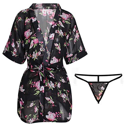 Lefthigh Women's Printed Pajamas Underwear Set Bathrobe Sleepwear Female Nightdress Kimono Cardigan Pajama Lingerie Set