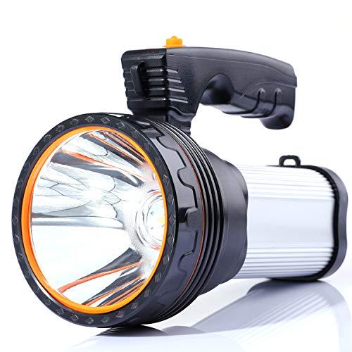 ALFLASH Torcia LED per torcia ricaricabile ad alta potenza 7000 Lumens portatile super luminoso impermeabile IPX4 Proiettore LED portatile 9000mAH Garanzia di sostituzione di 1 anno(Argento)