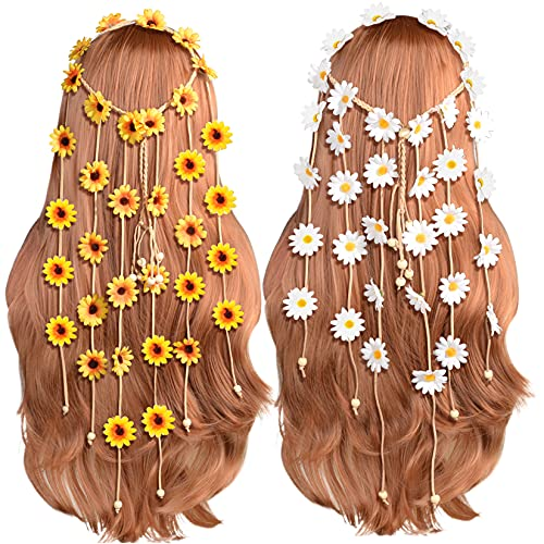 Sucrain 2pcs Flower Hippie Headband…