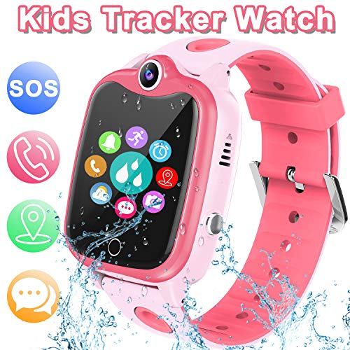 [IP67 Waterproof Phone Watch] Smartwatch for Kids, GPS Tracker with SOS Alarm Clock Game Wrist Smart Watch for Girls Boys Student Children Birthday Toys School Travel Outdoor (Pink)