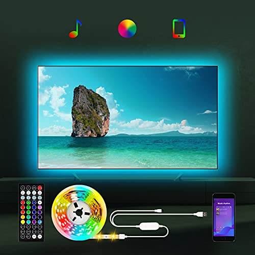 Led TV Hintergrundbeleuchtung für TV 55 bis 85 zoll, 5m TV Led Beleuchtung RGB LED Streifen mit APP/Bluetooth, USB Led Backlight für 55 65 70 75 82 85 Zoll TV