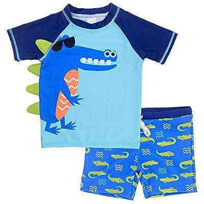 Vegaltair Baby Toddler Boy Swim Set Kid Swimsuit Boy Two Pieces Swimwear Rash Guard Sun Protection Swim Shirt(Crocodile, 4T)