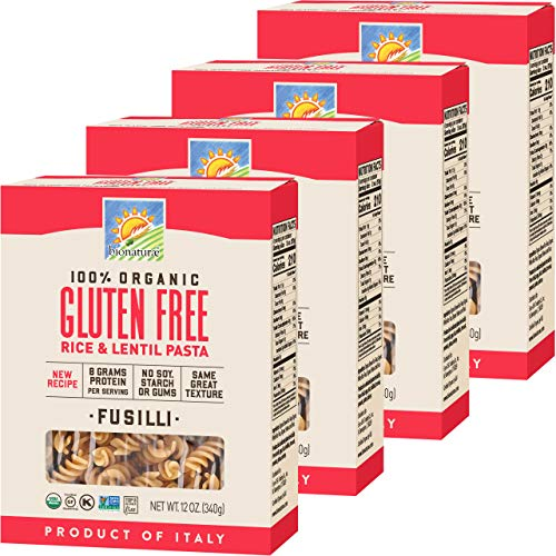 Bionaturae Fusilli Gluten-Free Pasta | Rice and Lentil Fusilli Pasta | Non-GMO | Lower Carb | Kosher | USDA Certified Organic | Made in Italy | 12 oz (4 Pack)
