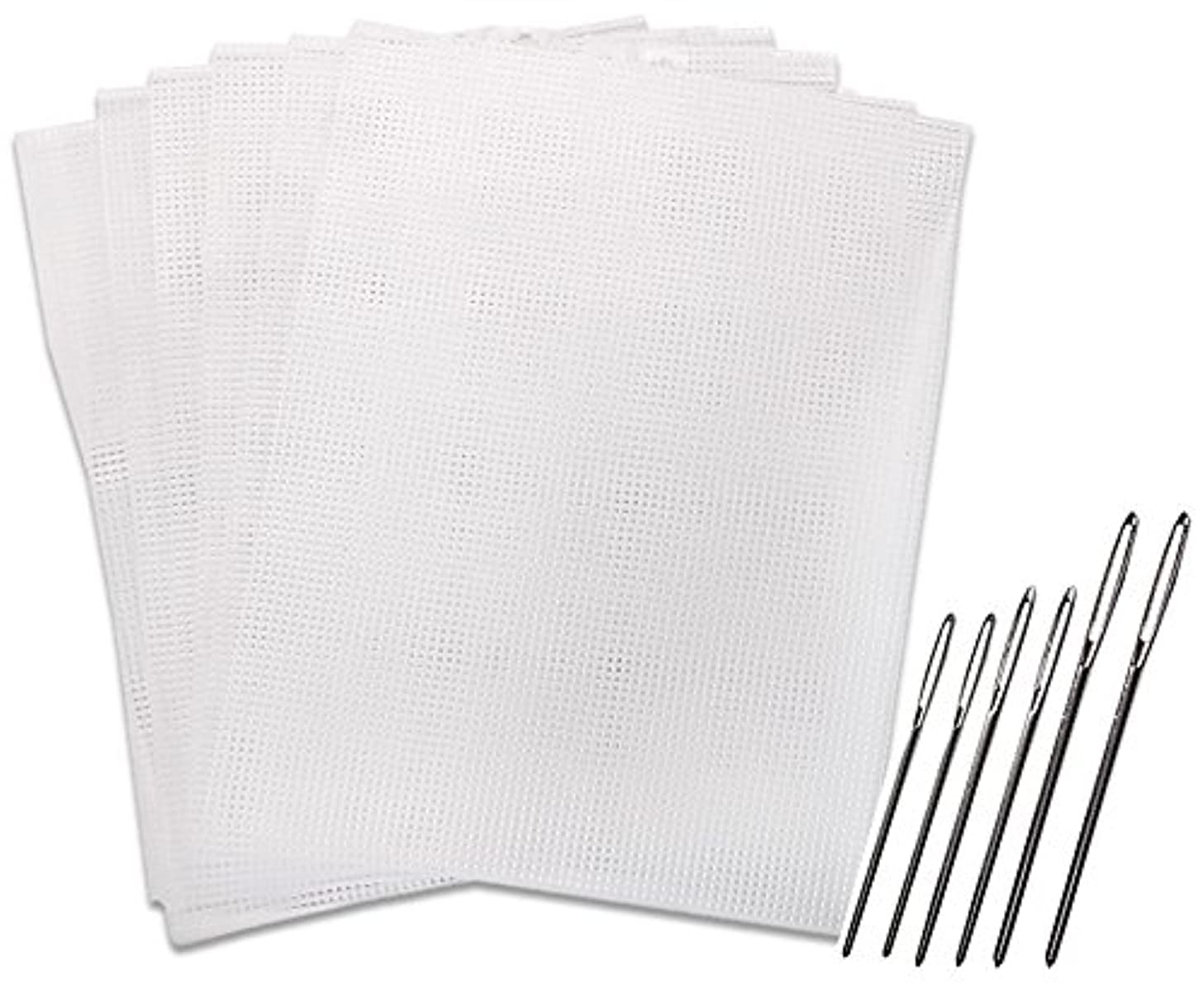 Clear Plastic Mesh Canvas Kits #7, 6 Sheets. with 6 Large Eye Blunt Needles, Sizes 13, 14 and 16, 2 of Each Size. (Plastic Canvas & Needles)