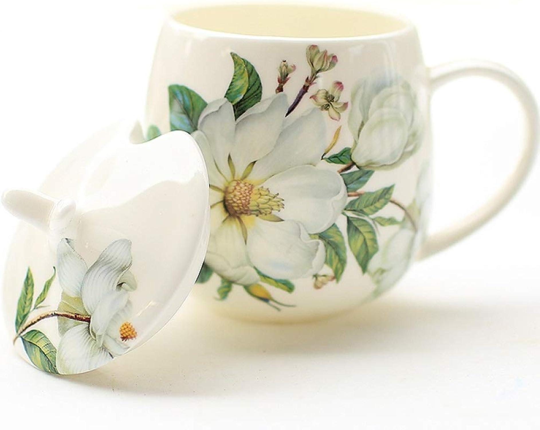 XTSHOP Mugs Tasses en Porcelaine Tendre avec Couvercle cuillère en céramique créative café au Lait Tasse Tasse Cadeau de Mariage élégant L2129