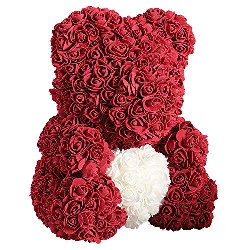 Oso de peluche artificial Rosa de peluche preservada para siempre, rosa artificial, regalo para el día de San Valentín, aniversario, boda, cumpleaños, día de la madre, (corazón rojo y blanco)