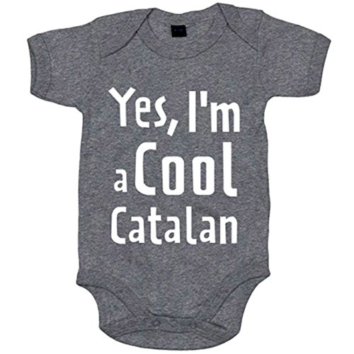 Body bebé yes I Am A Cool Catalan - Gris, 6-12 meses