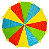 2 Meter LEADSTAR Kids Play Parachute Multicolored Play Tent with 8 Handles for Kids Play Games Indoor Outdoor Activity