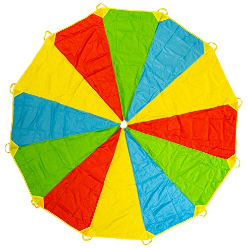 THE TWIDDLERS 12 Ft Parachute Play Tent Kids Game with 12 Handles - Hours of Fun and Amusement for Kids Toddlers - Indoor Outdoor Picnic Blanket Mats, Party Game, Group Activity and More