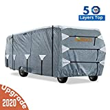KING BIRD Upgraded Class A RV Cover, Extra-Thick 5 Layers Anti-UV Top Panel, Deluxe Camper Cover, Fits 37'- 40' RV Cover -Breathable, Water-Proof, Rip-Stop with 2Pcs Extra Straps & 4 Tire Covers