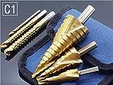 GYW-YW Drorn bit 6pcs de Acero de Titanio Hexagonal Paso Broca Conjunto 4-12/20/32 mm del Agujero del Metal del Cortador de Madera Cono perforación de la Base Sierra de perforación Taladros Tool + 3