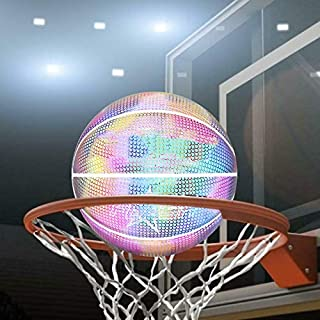 Light Up Basketball Holographic Glowing Reflective Basketball Lighted Glow Basketball Night Game Portable