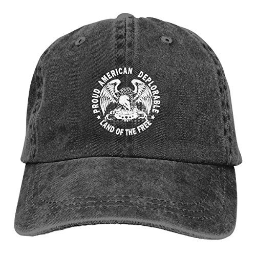 IIFENGLE Gorra de béisbol Retro para Adultos Sombrero de Vaquero Deportivo Sombrero Unisex para Exteriores Sombrero de Camionero Negro Proud American Deplorable