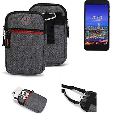 K-S-Trade® Gürtel-Tasche Für Vestel 5530 Handy-Tasche Schutz-hülle Grau Zusatzfächer 1x