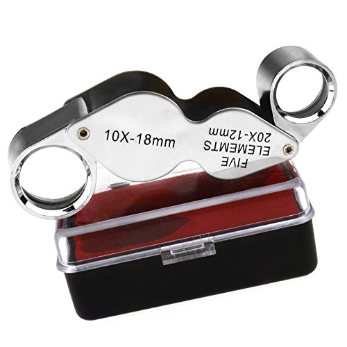 Metall 20x12 mm Fach Juwelierlupe und 10x18 mm Lupe 2 Lupen in einer Dual Lens
