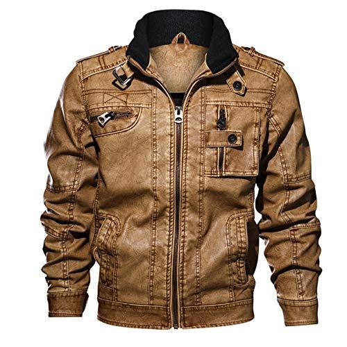 KUYG Herren-Mäntel Vintage PU Leder Jacke Stehkragen Lange Ärmel Outwear Sweatshirt Winter Coat mit Reißverschluss