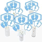 Baby Feet Blue - Boy Baby Shower Centerpiece Sticks - Table Toppers - Set of 15