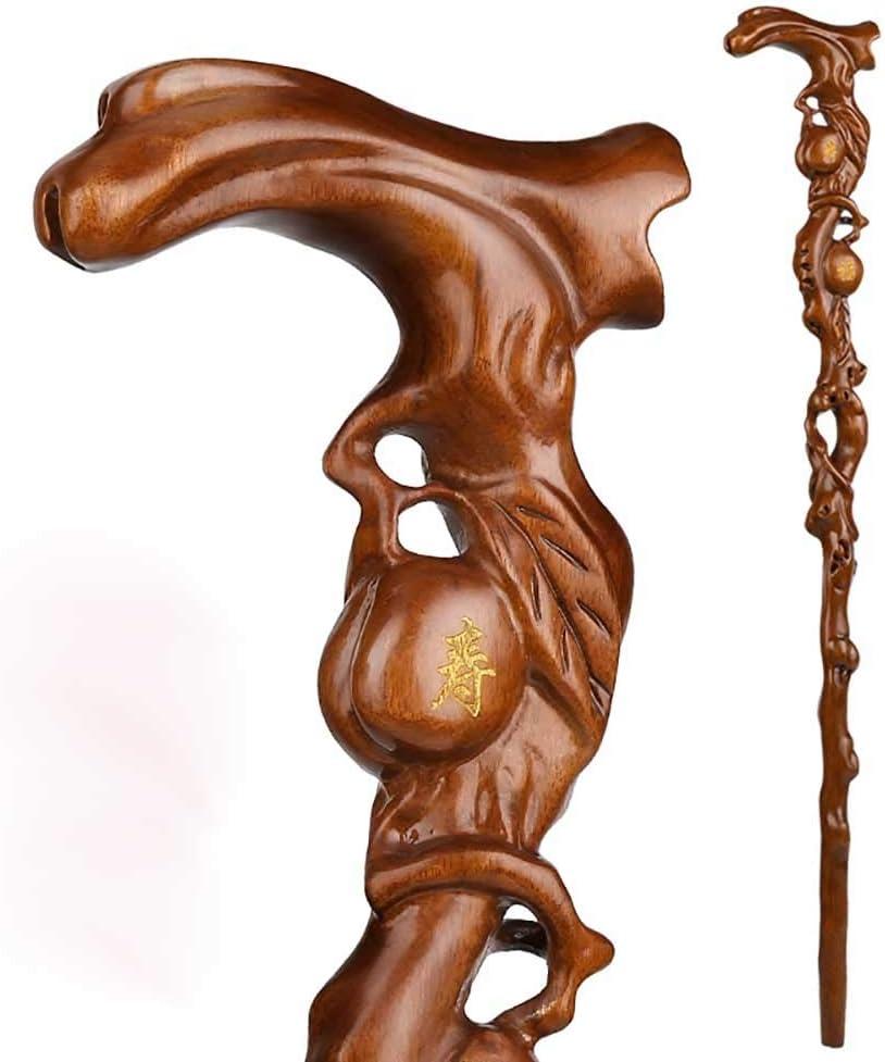China Boxwood wood carve longevity peach Dragon Crutch Cane Walking stick statue