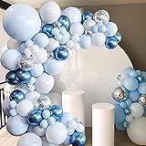 Anmete Arco Palloncini Kit Ghirlanda 107 Pezzi Palloncini Azzurri Bianco Argento Palloncino Lattice Coriandoli Kit Arco di Palloncini Baby Shower Decorazioni Compleanno Feste Party Matrimonio Laurea