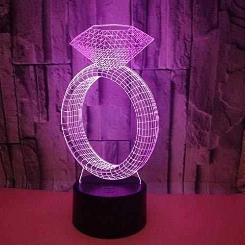 Sieraden Geschenk Aangepaste Diamanten Ring Creatieve 3D Nachtlampje led Bureaulamp Geschenk Tafellamp spot