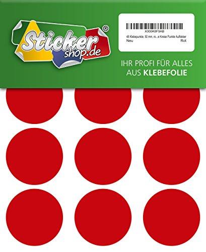 48 Klebepunkte, 50 mm, rot, aus PVC Folie, wetterfest, Markierungspunkte Kreise Punkte Aufkleber