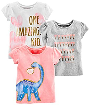 Simple Joys by Carter's Baby Girls' Toddler 3-Pack Graphic Tees, Pink Dino, Gray, White Heart, 2T by Carter's Simple Joys - Private Label