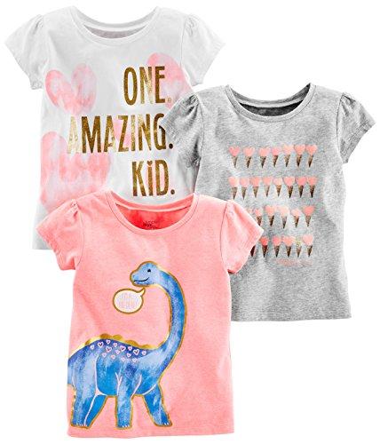 Simple Joys by Carter's - Maglietta a maniche corte per bambine, confezione da 3 ,Pink Dino, Gray, White Heart ,US 3T (EU 98–104)