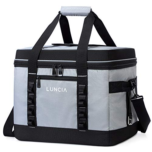 LUNCIA Collapsible Large Cooler Bag, Insulated Leakproof 60-Can Soft Sided Portable Cooler Bag for Picnic, Grocery Shopping, Camping, Travel, Grey