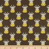 Whistler Studios Stand Tall Giraffe Faces Charcoal Quilt Fabric
