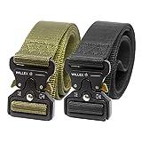 WILLEX set de 2 cinturones tácticos unisex con hebilla metálica de liberación rápida, cinturón de nylon en estilo militar