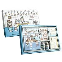 可愛手帳セットメモ帳、ステッカー、テープ、付箋、スケジュールを含む 文房具用品女の子と子供へのギフト 萌え萌え ギフトセット手帳 (青い)